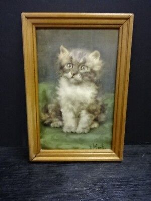 Vintage KITTEN CAT 3D Embossed Puffy Framed Picture Print by ATLAS New York