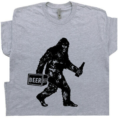 Funny Beer T Shirt Bigfoot Sasquatch Mens Tee Vintage Alcohol Drinking Graphic