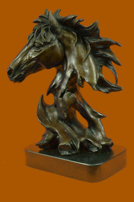 Original Milo Gorgeous Bust Horse Head Bronze Sculpture Figure Art Deco Figurine