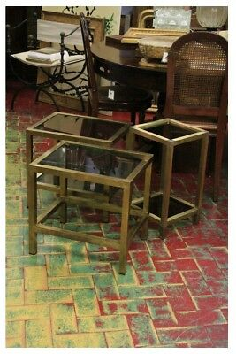 Group Of Three Coffee Tables Brass, Period 70'S / Brass /