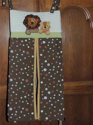LAMBS & IVY S.S. NOAH DIAPER STACKER LION Brown GREEN POLKA DOT