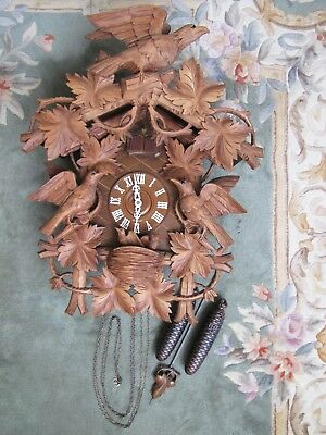 "Cuckoo Clock. Black Forest Regule Large 25.5"" Vintage German Two Weight Musical"