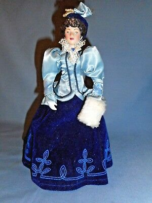 """Vintage 1987 Avon Porcelain Doll Blue Victorian Dress on Doll Stand 8"""" Tall"""