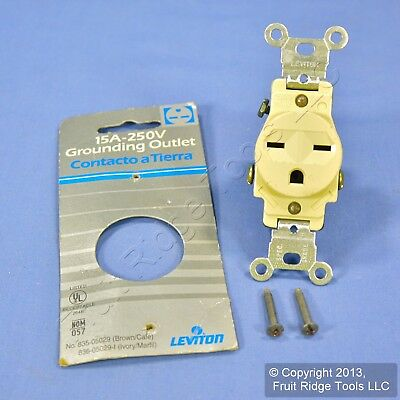 Leviton Ivory COMMERCIAL Single Outlet Receptacle NEMA 6-15R 250V 5029-I Carded