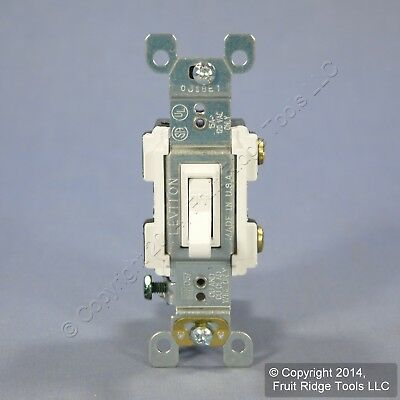 Leviton White Framed Toggle Wall Light Switch Single Pole 15A 120V Bulk RS115-2W