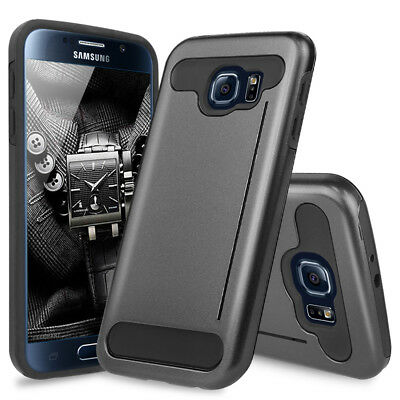 For Samsung Galaxy S6 Tough Hybrid Armor Shockproof Metallic Case Card Kickstand