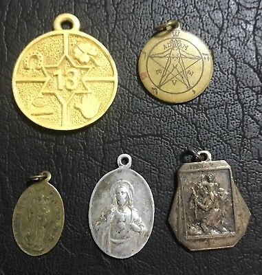 Lot Of 5 VINTAGE RELIGIOUS CHARMES/MEDALS And Superstitious Relics
