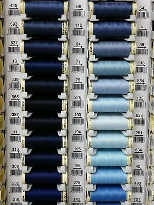 Gutermann Sew All Thread 100% Polyester x 100m Blue Shades Hand Machine Sewing