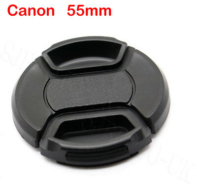 55Mm Centre Center Pinch Clip-On Front Lens Cap Cover For Canon Lenses