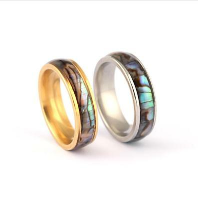 Tungsten Carbide Abalone Shell Inlay Silver Mens Wedding Band Women Jewelry Ring