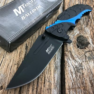 "8.25"" Mtech Usa Blue Spring Assisted Tactical Folding Pocket Knife New"
