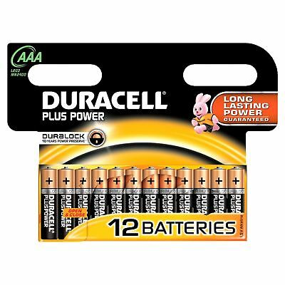 12 x AAA Duracell Plus Power MN2400 LR3 Alkaline Battery batteries Expiry 2024