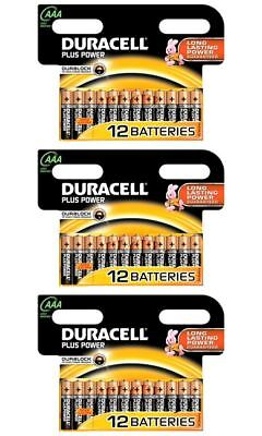 36 x AAA Duracell Plus Power 1.5V Alkaline Batteries LR03 2024 Expiry