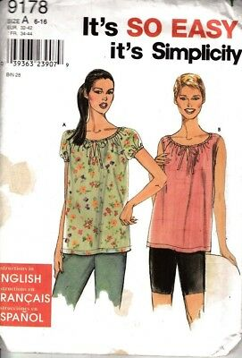 Simplicity  Sewing Pattern #9178 Boho Peasant Top Misses Size 6-16