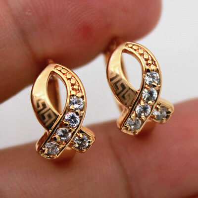 18K Gold Filled - Clear Zircon Hollow Cross Gemstone Pageant Women Hoop Earrings