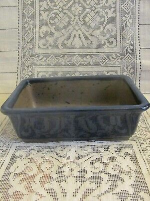 #121 Vintage Japanese Pottery Bonsai Pot Rectangle Blue Glazed