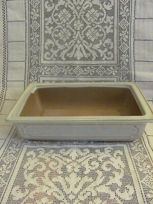 #124 Vintage Japanese Pottery Bonsai Pot Rectangle Ivory Glazed Japan