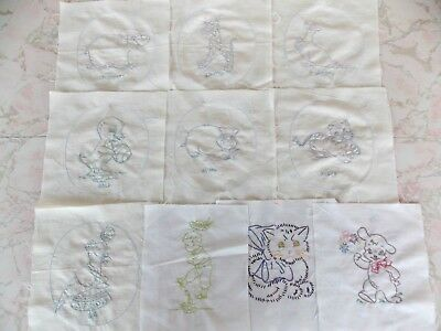 10 Vintage Hand Made Embroidered Applique Quilt Blocks 8.5 Inch Squares Baby
