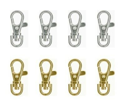 """12 SWIVEL CLIPS Clasps for KEY RING/LANYARD 1-1/2"""" x 3/4"""" ~ 6 Silver + 6 Gold"""