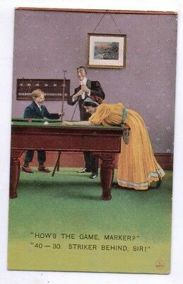 1911 Postcard featuring a family playing Billiards, Bamforth & Co #1744