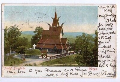 1904 Postcard Fantoft Staverkirke Norway, postally used with English 1/2p stamp