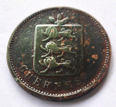 1830 Guernsey 4 Doubles 1/2 Penny British Coin Piece ancienne Guernesey Fine !