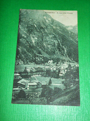 Cartolina Gressoney - St. Jean ( Val d' Aosta ) - Panorama 1922