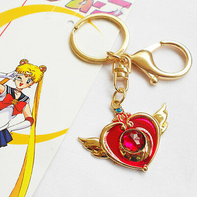 Sailor Moon Soldier Usagi Tsukino Heart Wing Keychain Keyring Pendant Bronze