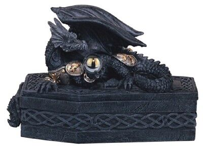 Black Dragon on a Coffin Medieval Fantasy Jewelry Trinket Box Container New