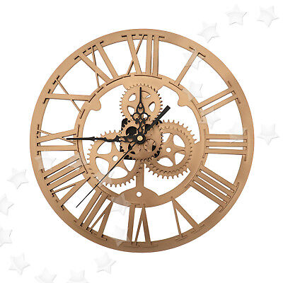 30cm Gold Iron Classic Vintage Round Roman Numeral Clock Steampunk Wall Decor