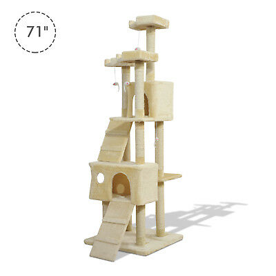 PawHut 71in Deluxe Multi-Level Cat Scratching Tree Kitten Condo Kitty Play House