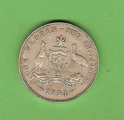 #c34. 1934  Australian Sterling Silver Florin Two Shilling  Coin