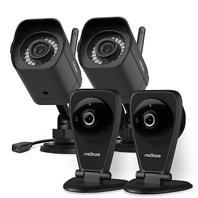 meShare 1080p HD Wireless Security Camera System, Indoor/Outdoor Cloud Recording