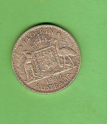 #c34. 1944 S Australian Sterling Silver Florin Two Shilling  Coin, San Francisco