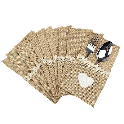 50×Burlap Cutlery Holder Bags Vintage Jute Lace Wedding Pouch Fork Knife Pocket