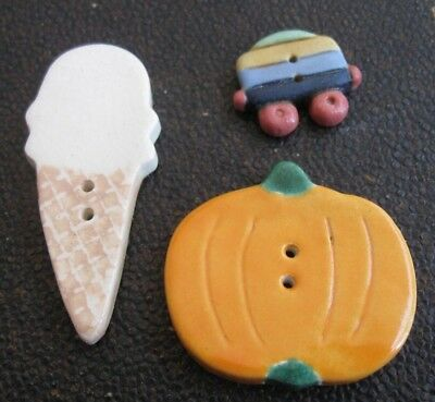 3 hand made CERAMIC BUTTONS - ICE CREAM, PUMPKIN, TRAIN CARRIAGE ? sewing, quilt