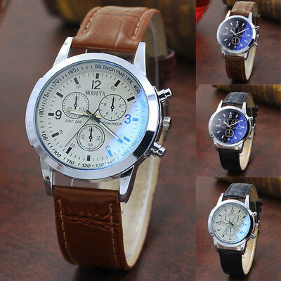 Mens Leather Belt Dial Analog Quartz Wrist Watches Buckle Business Watches 40mm