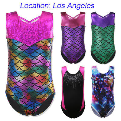 US Warehouse Girls Sparkle Gymnastics Ballet Dance Leotards Mermaid Leotard3-14Y
