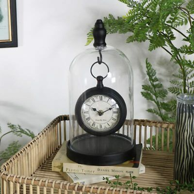 Glass domed vintage black pocket watch style mantel clock vintage ornate chic