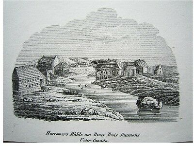 Harrowers Mühle am River Trois Saumons Unter Canada Amerika Stahlstich 1843
