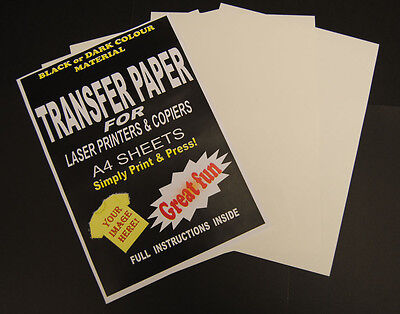 5x A4 Laser & Copier T Shirt Thermal Transfer Paper Sheets For Dark Fabrics