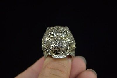 China hand Collectible Culture Style tibet silver Relievo tiger head man Ring