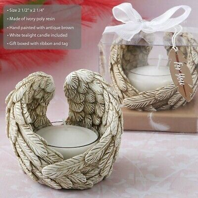 25 Guardian Angel Wings Candle Holder Christening Baptism Religious Party Favors