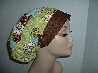Mod Zinnia Flowers Lime Blue Brown OR Bouffant Scrub Hat CNOR CORT CRNA MD