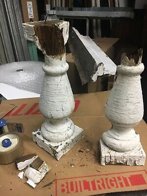 "2 Salvaged turned Victorian baluster chippy paint 16.5"" h x 4.5/5.5"" sq *AS IS*"