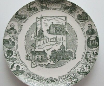 Souvenir Plate State Indiana Historic Route 40 Transfer ware Green