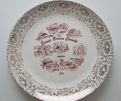 Souvenir Plate State Nashville,  Indiana Scenic Brown County Ironstone