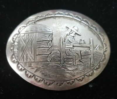 Mexico Sterling Silver Handmade Woman Belt Buckle.(J3)