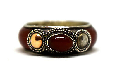Antique 14K Solid Gold, Sterling Silver and Carnelian Ring Size 7