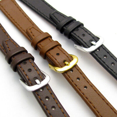 Fine Stitched Calf Leather Watch Strap Band 8-14mm Black Brown or Tan Free Pins